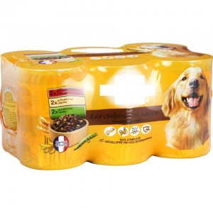 shrink wrapped pack of 8 tins of dog food