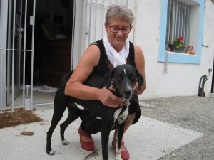 Black and white dog with new owner. Smiles!