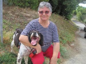 Lady and dog both smiling