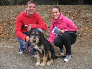 Small black and tan puppy with young couple
