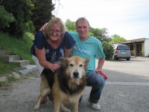 couple with old dog